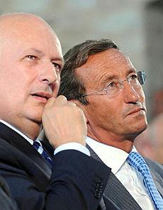 Gianfranco Fini, a Gubbio, con il ministro Bondi